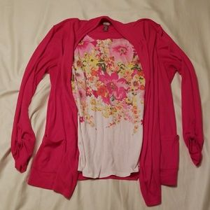 White Stag floral top with attached sweater
